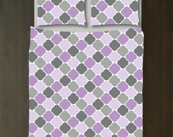 Quatrefoil Bedding Set-Duvet Cover and Shams-African Violet-Grey-Customize with ANY COLORS-Twin/Twin XL, Full/Queen, King-Size-Dorm Room Bed