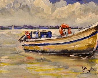 Coastal Art Print skiff, Beach, art, by Joe Byrd ,N.C. Art, virginia Beach, lake art, original art, impressionist, landscape,old boats,