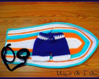 Crochet Surf's Up Baby Boy Swim Trunks and Surfboard Photo Prop
