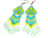 Rising Phoenix Beaded Earrings With Long Fringe By Wooleycreek