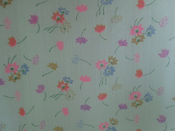 "Fun Vintage LIME GREEN Sheer Cotton Fabric FLOCKED with Brightly Colored Flowers  47"" Wide 112"" Long"