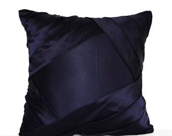 Throw Pillow Cover, Navy Blue Satin Luxurious Pleats, Sateen Cushion, Textured Pillow, Navy Decor, Designer Pillow, Gift Valentine gift