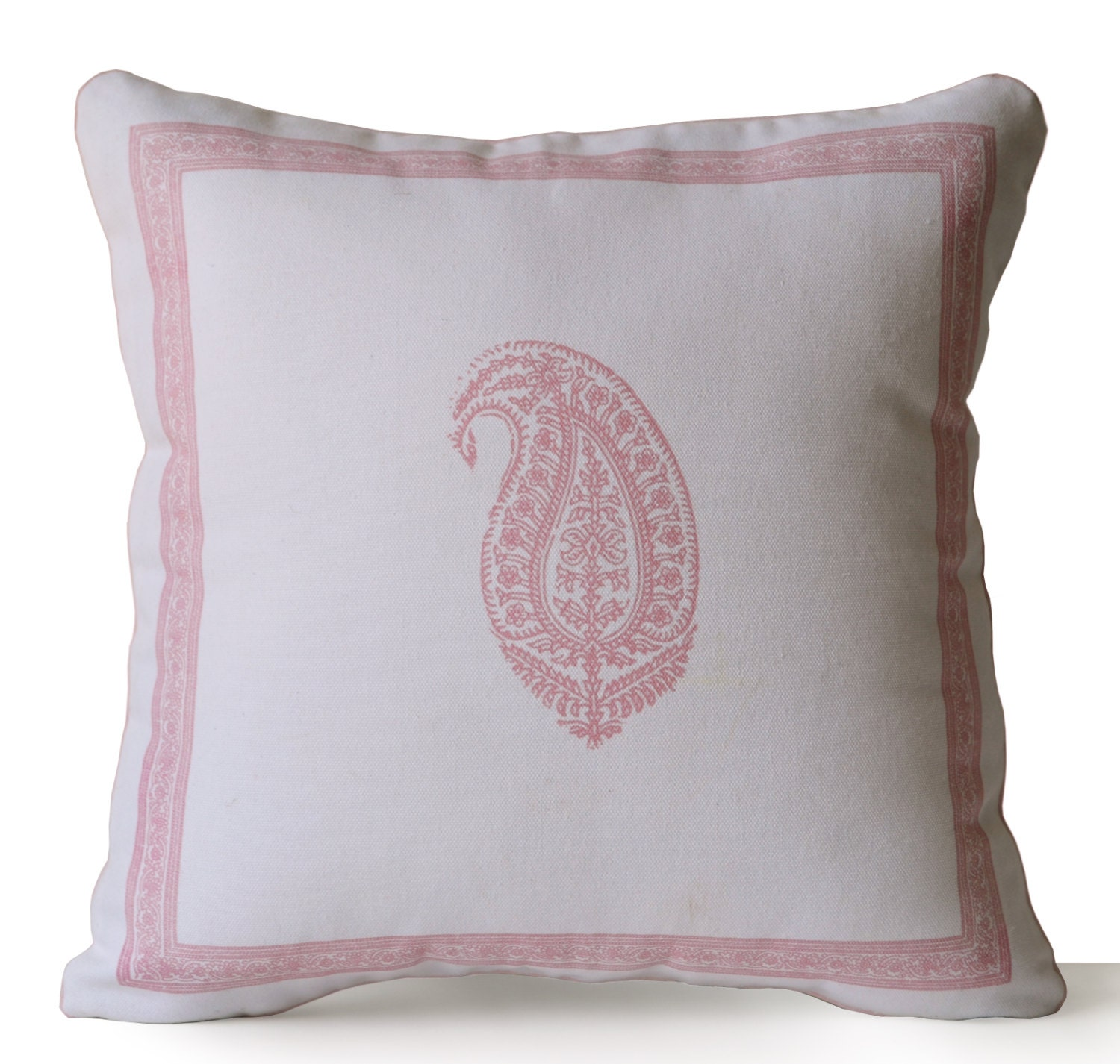 Decorative Pillow Ivory : Decorative Throw Pillow Ivory Cotton Pink Paisley Pillow Case