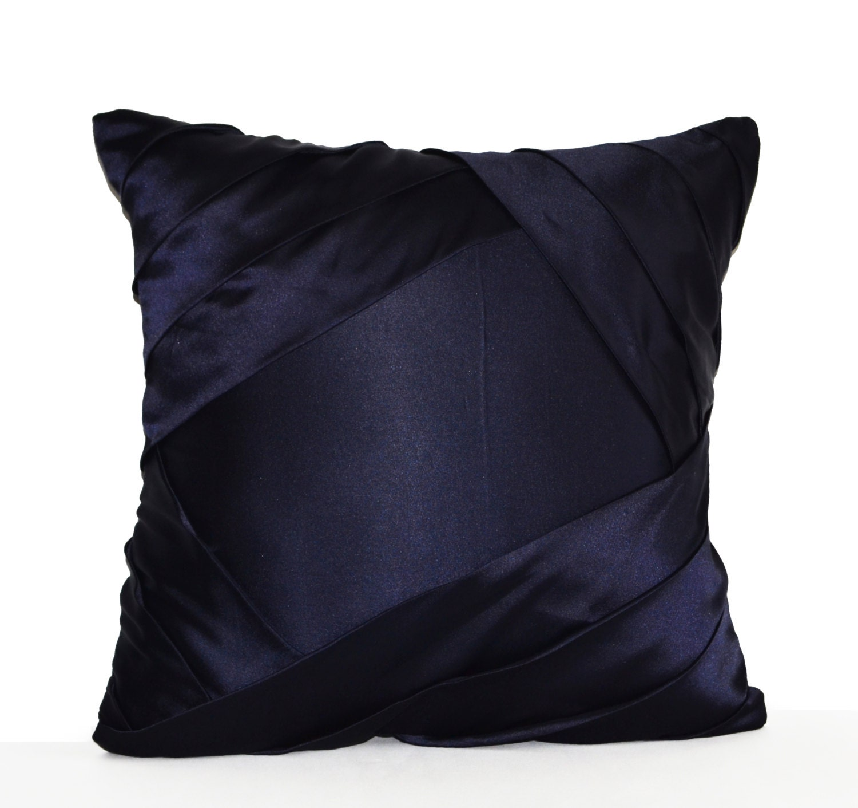 Blue Satin Throw Pillow : Throw Pillow Cover Navy Blue Satin Luxurious Pleats Sateen