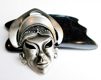 Large Vintage 50s Nubian Princess Brooch/ Pin, NYC Boho Style, White Mat Finished Bronze.