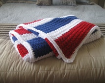 Red throw blanket, red white and blue afghan, Blue throw blanket, White throw blanket, Red knit blanket