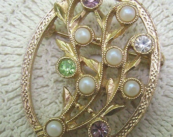 """Vintage """"Sarah Coventry"""" Brooch...Multi Jeweled/ Pearl Floral Pin...Sarah Coventry Collectors"""
