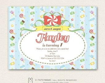 Sweet Shoppe Printable Birthday Invitation | Candy Sweet Treats Announcement Invite | Digital Card