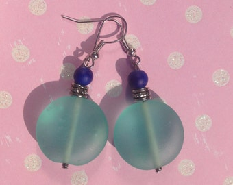 Teal translucent earrings