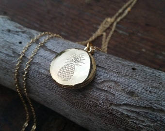 Engraved Pineapple Mini Locket Necklace -   Gift, PersonalizedJewelry, Mom Jewelry, Silver or Gold Tone
