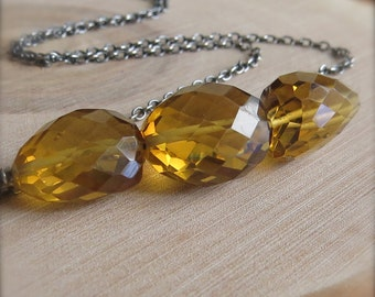 Yellow Brown Whiskey Nugget Chunk Quartz Oxidized Sterling Silver Necklace