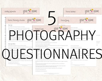 Photography questionnaires - Photography business forms - marketing branding forms psd and word docs editable files