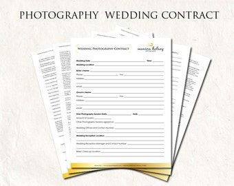 Photography wedding contract - gold wedding contract - photography business forms editable templates - 5 psd files supplied