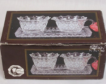 Vintage Glass Creamer Sugar and Matching Tray in the Original Box and made in West Germany / Stylized Floral Pattern Creamer Sugar Set