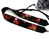Floral Camera Strap. Flowers Camera Strap. Black Red Camera Strap. Photographer Gift.  Accessories
