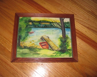 "ORIGINAL WATERCOLOR SIGNED R Schulman Lake Motif Framed In Oak Frame 9 1/4"" x 11"""