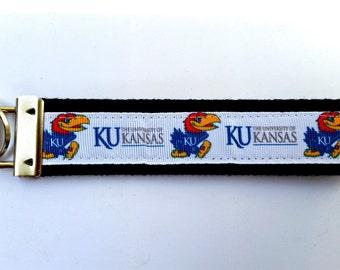 University of Kansas Jayhawks Keychain - Wristlet Keychain, Key Fob, Wrist Keychain