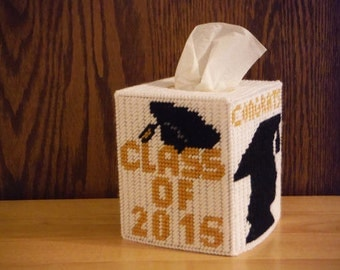 Plastic Canvas Tissue Box Cover Graduate,graduation gift for her, graduate gift, class of 2017, gift for graduate, graduation gift