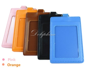 Vertical 4 layer PU Leather ID Badge Holder with 1 ID Window and 1 Card Slot and Alligator Clip
