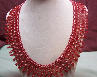 Red and White Net Necklace
