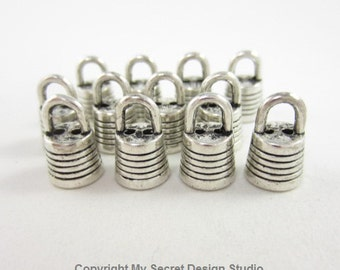 12pcs 7mm-Opening Round End Cap with Ring Horizontal Lines Two-Holes Silver Plated (F1841)