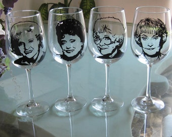 Hand Painted Wine Glass - SET of 4 - The Golden Girls