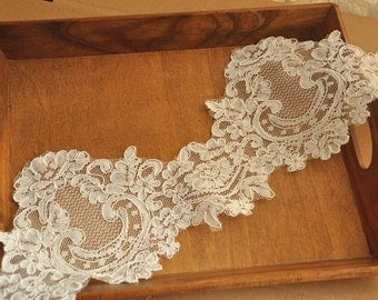 Ivory Alencon Lace Trim for Bridal Veil , Wedding Dress