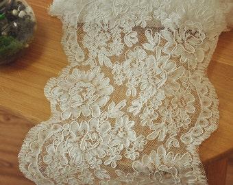 Ivory Alencon Lace Trim French Bridal Lace Trim