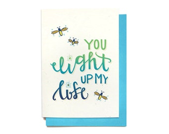 Love Card - Anniversary Card - You Light Up My Life - Valentine card friend - Love Card Him - Valentine card - Best Friend Gift - LV7