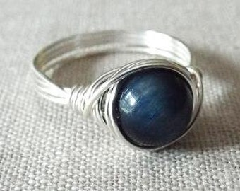 SALE! Blue Tiger Eye Ring - Nautical Ring - Blue Stone Ring - Unique Rings - Wire Wrapped Ring -  Navy Blue Ring - Ring with Blue Stone