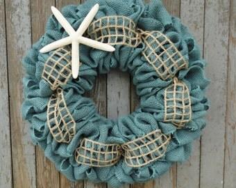 Beach Cottage Burlap Wreath-Turquoise Burlap Wreath-Burlap Wreath with Starfish-Beach Burlap Wreath-Nautical Burlap Wreath-Beach Wedding
