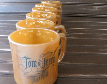 Fire King Tom and Jerry Peach Lustre Mugs - Set of 6