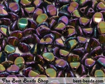 50pcs Iris Magenta Pinch Beads 5mm Czech Glass Pressed Beads