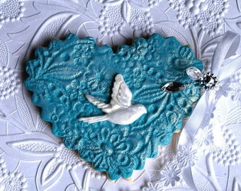Decorated Wedding Cookie - Heart Turquoise/ white