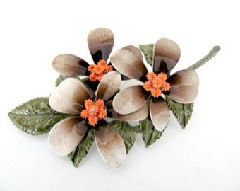 Vintage Enamel Flower Brooch, 1960's Brown, Coral Flower Brooch, Enamel Flower Pin, Fall Brooch, Pin, 1960s Brooch, Jewelry