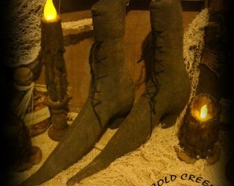 Primitive Witches Shoes Halloween Decor Witch Boots