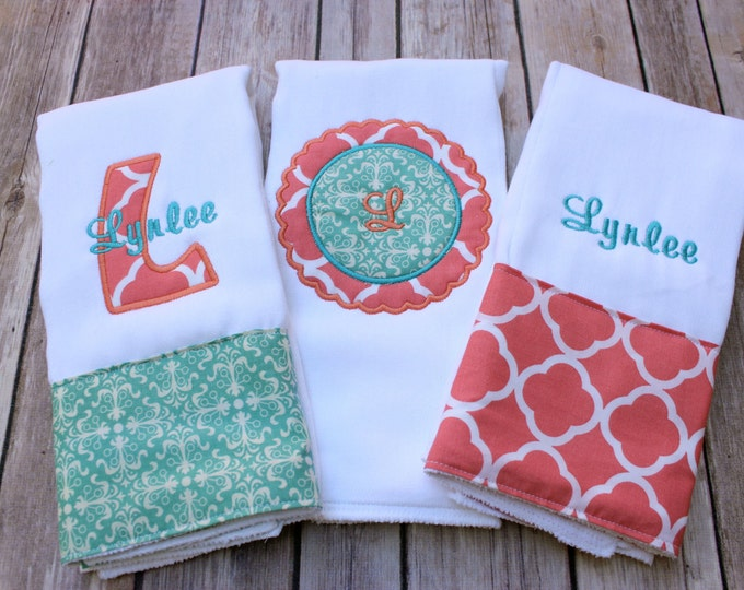Monogrammed Girl Burp Cloth Set - Personalized Burp Cloth Set for Baby Girl, Turquoise and Coral Burp Cloth Set, Monogram Baby Girl Burp