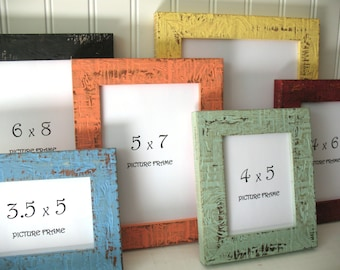 MINI FRAME 12 COLORS Beachy Picture Instagram Photo Frame Rustic Distressed 3x4 3.5x5 4x5 4x6 5x7 6x8 7x9 Glass Nautical Shabby Decor Small