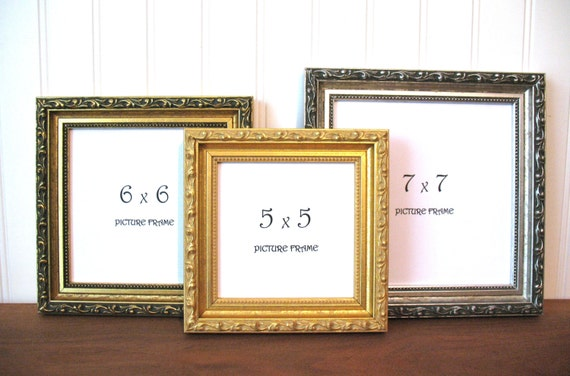 square frame ornate gilded antique gold silver picture instagram photo frame 3x3 4x4 5x5 6x6 7x7 8x8 9x9 glass hollywood regency decor