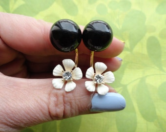 Flower pansy ear  jacket double sided earrings