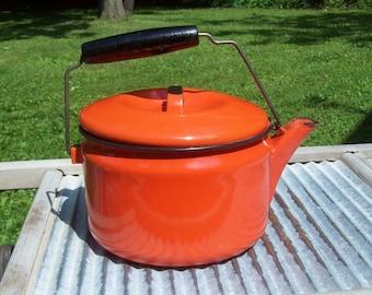 Vintage Retro Enamelware Orange Wood Handled Tea Kettle Teapot