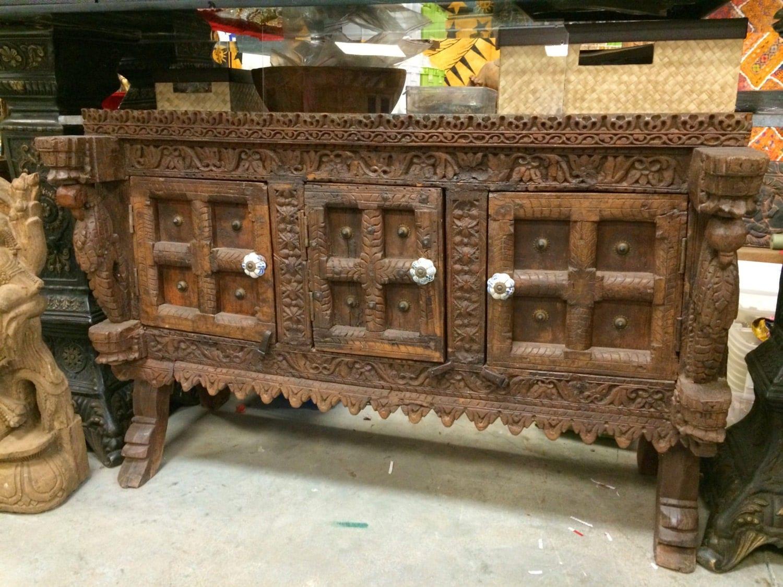 Antique Indian Sideboard Chest Dresser Vintage Teak Wood Rustic Buffets  Manjoosh India Furniture