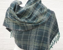 Cashmere scarf mens accessory gift vintage 70s scarve plaid gift cashmere accessory womens winter scarf ladies fall green neckwarmer soft uk