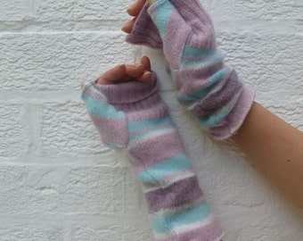 Fingerless gloves soft wool handwarmers gift for her eco-friendly winter gloves handmade striped eco mittens Pastel goth texting armwarmers.