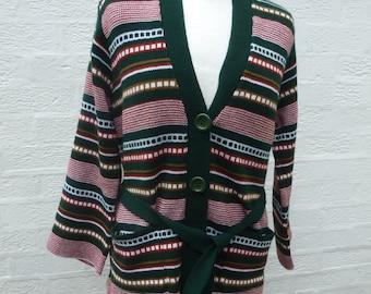 Women's cardigan striped 1980s vintage clothing ethnic retro style belted sweater acrylic wool cardigan with belt UK 12 sized medium ladies.