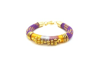 NOVA - rope bracelet, ethnic bracelet, purple and gold bracelet, boho chic bracelet, ethnic jewelry, rope jewelry, thread wrapped, colorful