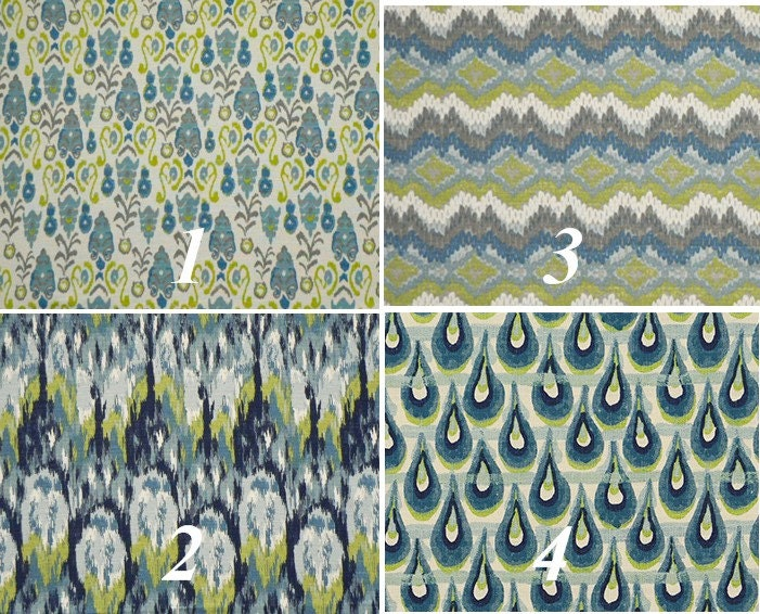 Frost blue and green curtain panels ikat by cathyscustompillows