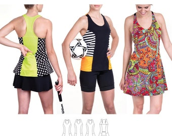 Jalie Racerback Tank Top & Tennis Dress w/Built in Bra Sewing Pattern 3463 Anne-Marie - 27 Sizes for Women and Girls