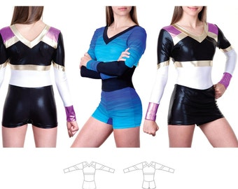 Jalie One-Piece Bodysuit Cheerleading Uniform Sewing Pattern 3466 Anne - 22 Sizes for Women & Girls