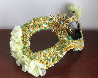 Masquerade Mask, Yellow Roses, Bird Mask, Garden Party - Foxglove